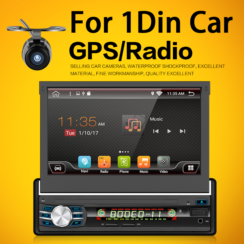 1 Din Android 6.0 Car GPS Navigation player Radio Music Bluetooth Rear View Camera SD USB For Auto radio 1din gps