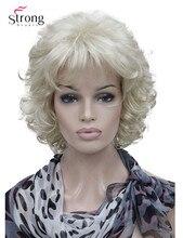 StrongBeauty Kurze Volle Lockige Synthetische Haar Perücke Für Frauen Platin Blonde Farbe