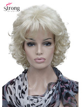 StrongBeauty Peluca de pelo sintético para mujer, corta, rizada, Color rubio platino