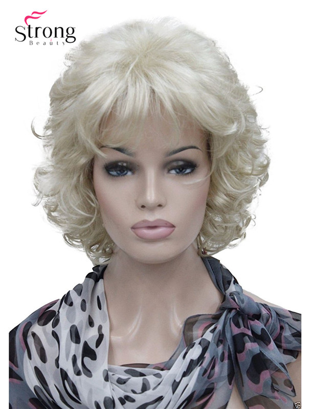 StrongBeauty Short Full Curly Synthetic Hair Wig For Women Platinum Blonde Color