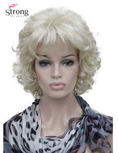 Image 1 - StrongBeauty Short Full Curly Synthetic Hair Wig For Women Platinum Blonde Color