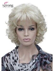 Image 1 - StrongBeauty قصيرة كامل مجعد شعر مستعار اصطناعي للنساء البلاتين شقراء اللون