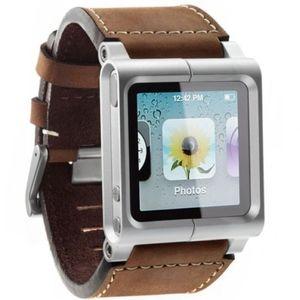 Image 5 - (Brązowy) kolekcja Chicago skórzany aluminiowy pasek na rękę zespół skrzynki pokrywa dla ipod nano 6 6th 6G + bezpłatna ochrona ekranu