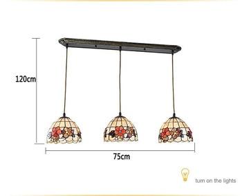 المتوسط تيفاني الرجعية الرعوية LED قذيفة قلادة ضوء 3 الخطي رئيس Luminaria تيتو شنقا مصابيح للمنزل الديكور