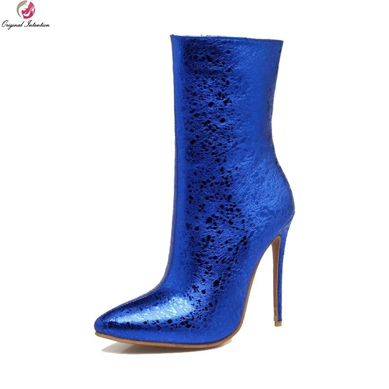 3 Nosotros Rojo Intención Plata 16 Original ef05303 Sexy ef05302 ef05304 Mujeres Más Tamaño Zapatos Botas La Delgada Mujer Punta Ef05301 Azul Tacones Negro De UaqwCx