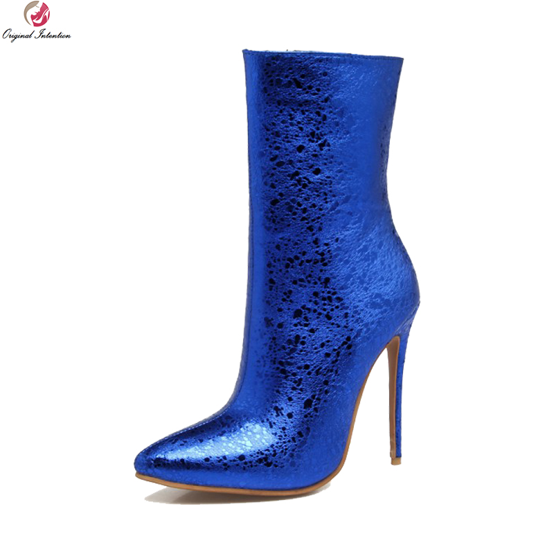 Original Intention Sexy Women Ankle Boots Pointed Toe Thin High Heels Boots Black Blue Silver Red Shoes Woman Plus US Size 3-16 цены онлайн