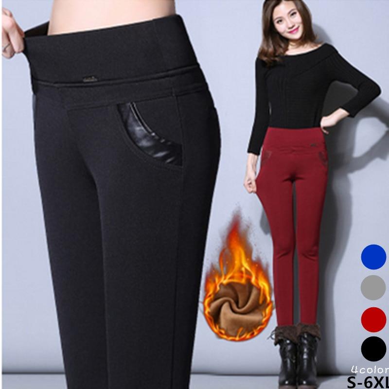 S-6XL / 5XL / 4XL s vysokým pasem dámské legíny zimní kalhoty sametové s teplými dámskými kalhotami