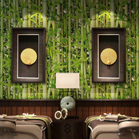 Retro Chinese Study Restaurant Bamboo Forest Green Fresh Wallpaper Living Room Television Background Cafe Wholesale