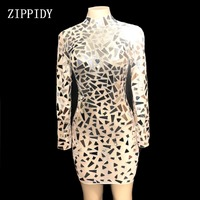 2019 модные блестящие зеркала перспектива сетки Для женщин день рождения, празднование Прозрачное платье пикантные узкие костюм для танцев