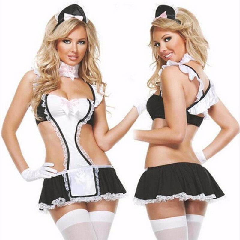 Buy Sexy Maid Uniform Women Sexy Lingerie Hot Lace Miniskirt Cosplay Maid Outfit Sexy Maid Costumes Babydoll Teddy Erotic Lingerie