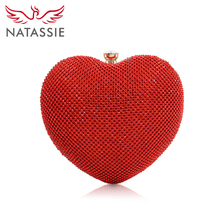 New Arrival Women's Luxury Heart Clutch Bag with Chain