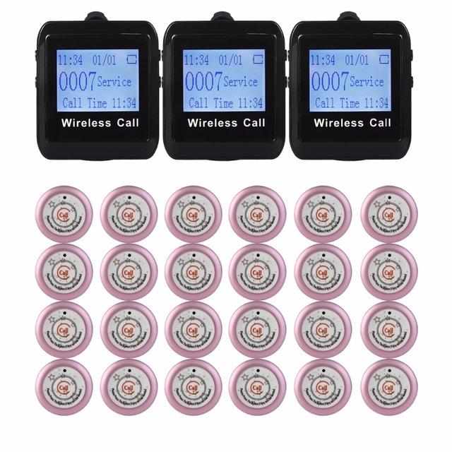 24 pcs Botão do Transmissor + 3 pcs Relógio Receptor 433 MHz Restaurante Pager Sistema de Chamada Sem Fio Restaurante Equipamentos F3291E