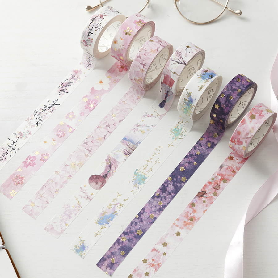 New Beautiful Cherry Blossom Bullet Journal Gilding Washi Tape Adhesive Tape DIY Scrapbooking Sticker Label Masking Tape