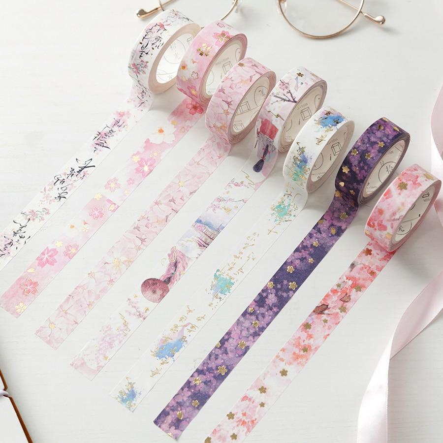 New Beautiful Cherry Blossom Bullet Journal Gilding Washi Tape Adhesive Tape DIY Scrapbooking Sticker Label Masking Tape