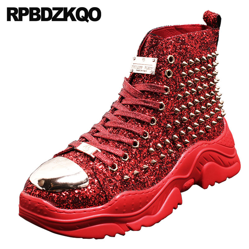 finest selection 70e7e 60b2d US $70.07 36% OFF|lace up high top thick soled trainer glitter boots  sneakers green metalic fashion sole shoes men rock booties rivet red  stud-in ...
