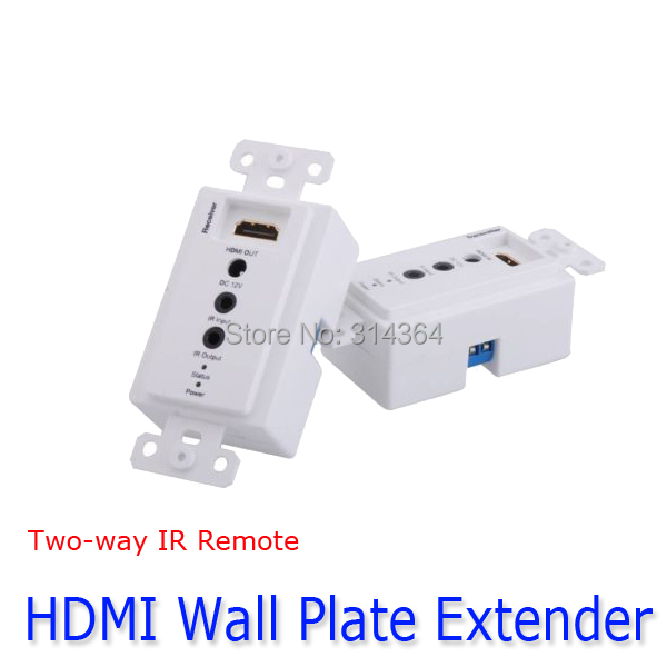 HDMI extender Two-way IR Infrared Repeater controll Via A Cat5/6e Wall Plate up to 50meter 1080p 3D