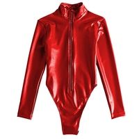 Fashion Latex Bodysuit Women Sexy Catsuit Lingerie Bodysuits Long Sleeve Erotic Leotard Costumes Female Nightwear Clubwear