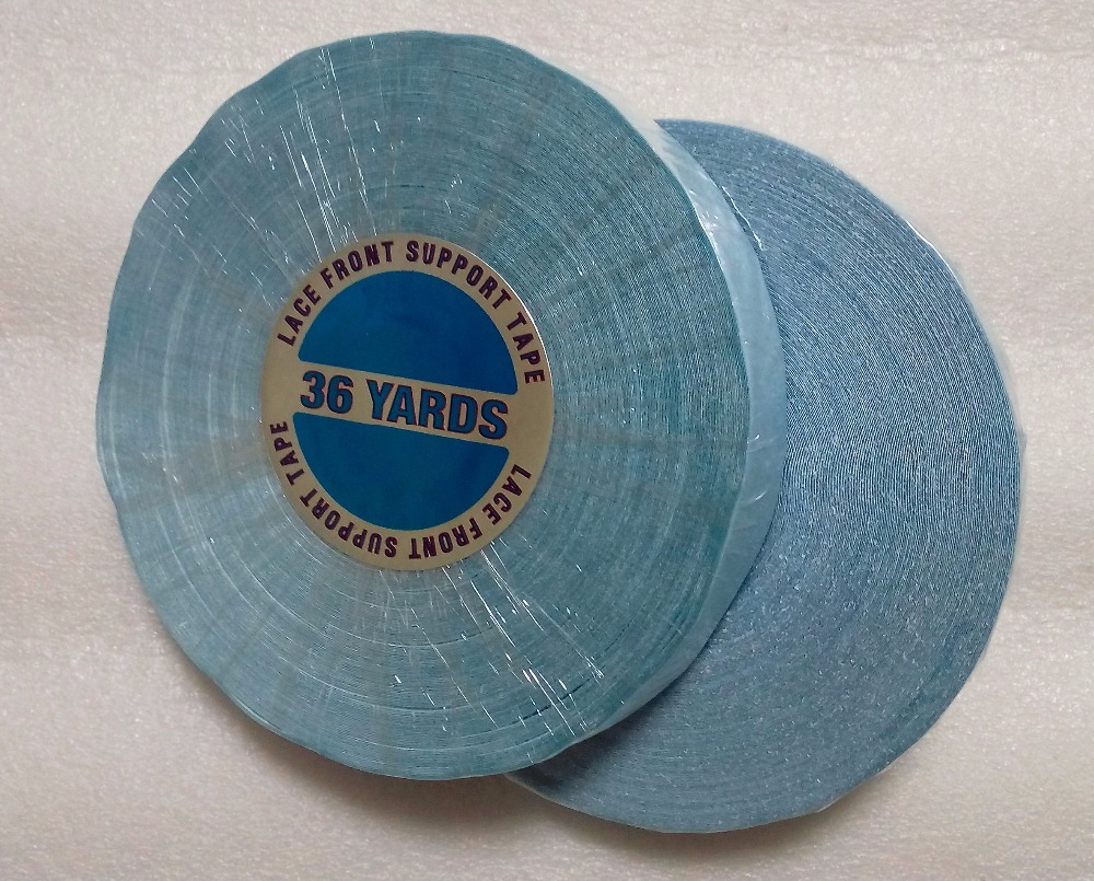 1 roll 1.9 cm*36 yards Blue Lace front support tape wig lace fronta tape 6a grade wavy lace front wig bleached knots 120