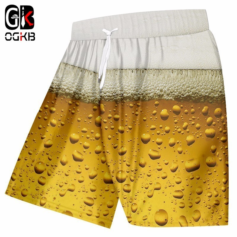 OGKB New Arrive Shorts Men Summer Beachshorts Fashion 3D Fresh Beer Print Casual Shorts Unisex Hip Hop Streetwear Board Shorts
