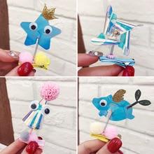 2019 Newest Kids Cute Cartoon Crown Elephant Windmill Baby Girl Hairpins AB Color PVC Children Spring  Hair Clip