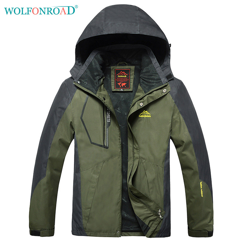 WOLFONROAD Men 9XL Waterproof Hiking Jacket Winter Autumn Jacket Coat Women Climbing Jacket Outdoor Sport Clothing L-SSCF-05 ws715 men s autumn winter wear multi pocket polyester slim jacket deep blue yellow l