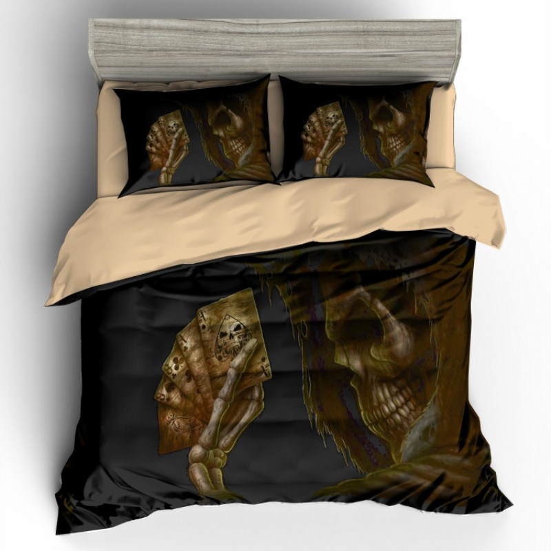Fanaijia 3d sugar skull Bedding Set King size Bohemian skull Print Duvet Cover set with pillowcase
