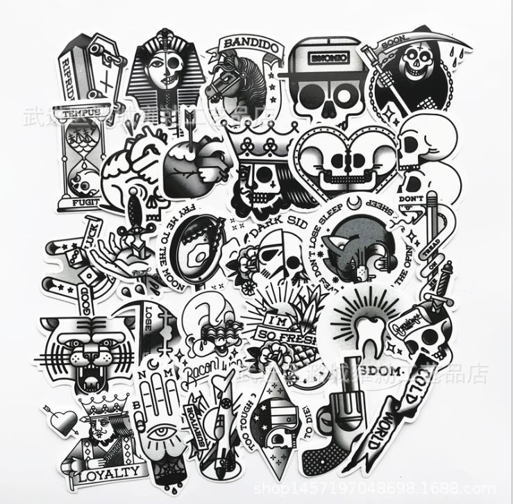29PCS Old School American Retro Tattoo Pattern Notebook Suitcase Skateboard Graffiti Trend Box Decoration Stickers