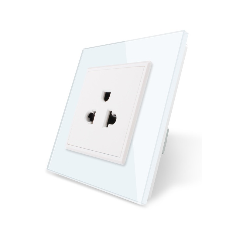110~250v 16a Wall Power Outlet White Crystal Glass Panel Vl-c7c1us-11 Us Standard Power Socket