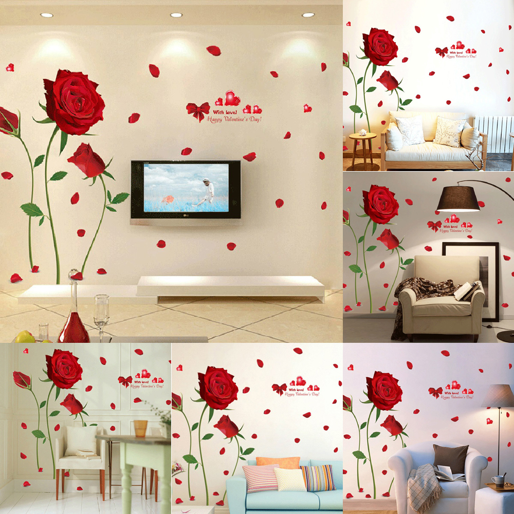 Valentine s Day Red Rose Wall Decal Mural Removable Flowers Stickers Vinyl  Art DIY Romantic Home Decoration New Fashionable