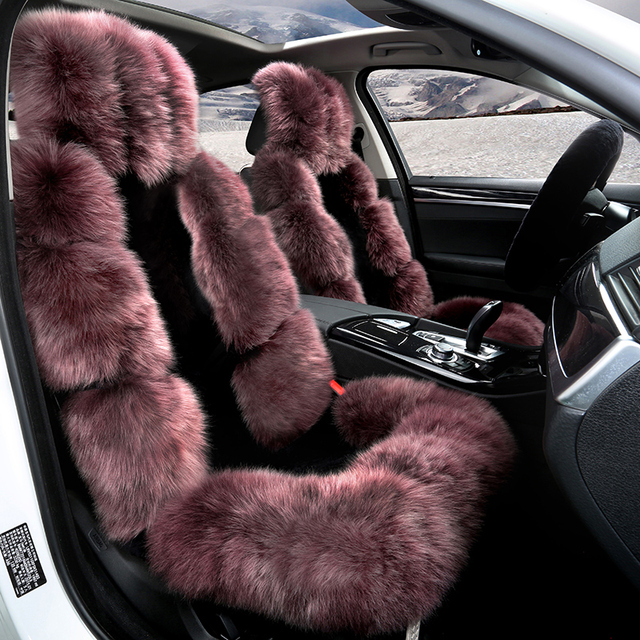 Full Sheep Fur Cover Car Seat Cover 5 Seats Cover Set Low Profile