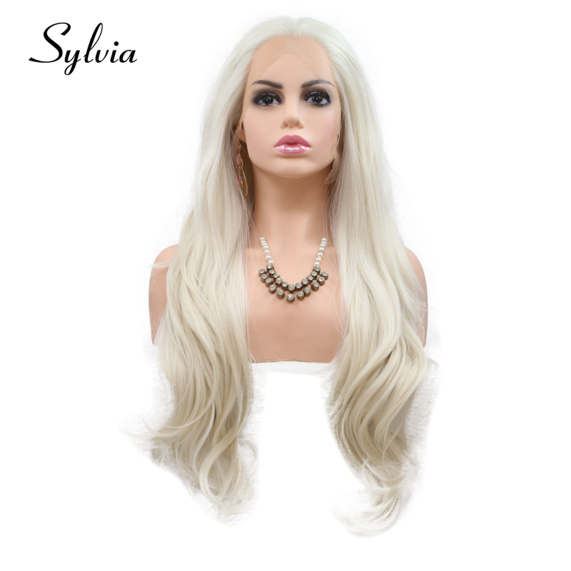 Sylvia 60# Blonde Synthetic Lace Front Wigs Body Wave Middle Part Heat Resistant Fiber Hair For Women