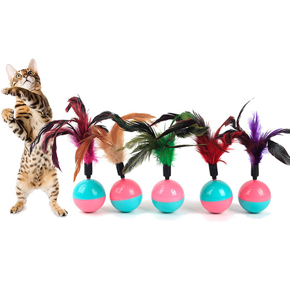 1Pcs Funny Cute Pet Cat Toys Kitten Training feather plume Play Toy Tumbler Ball Products Gifts Random Color