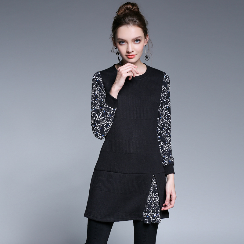 2017Winter Fashion Ladies elegant knitted dress floral printed patchwork cultivating casual vestidos plus size tunics L