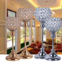 Crystal Table Lamp Metal Silver Candle Holder Stand Candlesticks Lantern for Wedding Centerpieces Candelabra Decoration