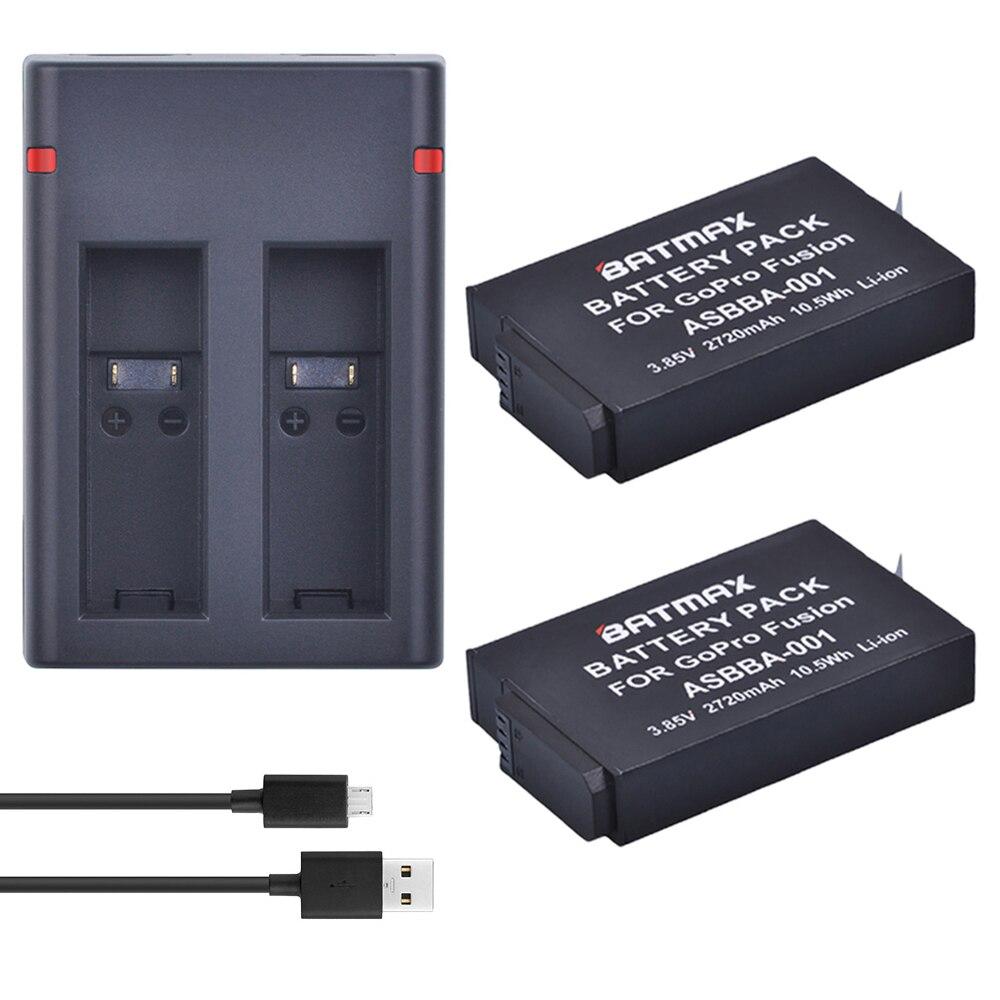 2 Pcs 2720 mAh Gopro Fusion Batterie Accu + Double USB Chargeur avec Type C Port pour Gopro Fusion 360 degré Caméra ASBBA-001 Batterie