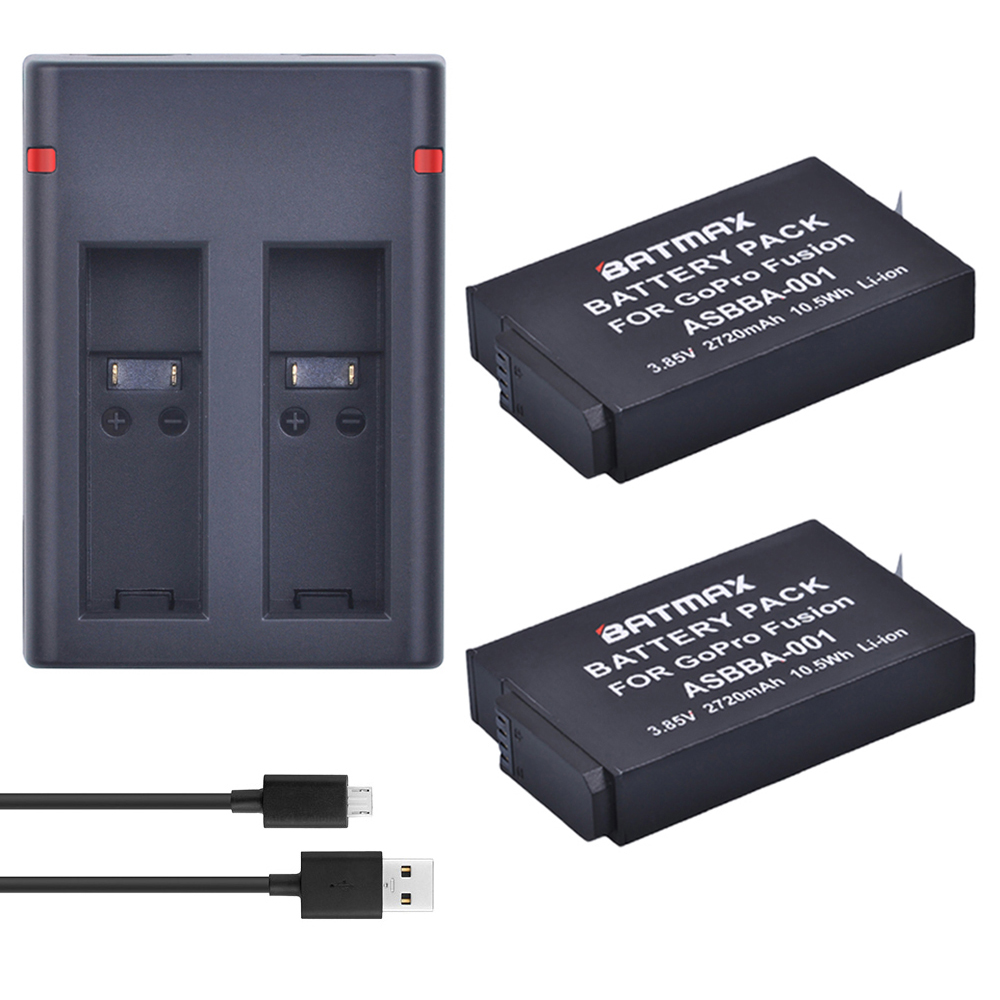 купить 2Pcs 2720mAh Gopro Fusion Battery Accu+Dual USB Charger with Type C Port for Gopro Fusion 360 Degree Camera ASBBA-001 Battery по цене 1983.49 рублей