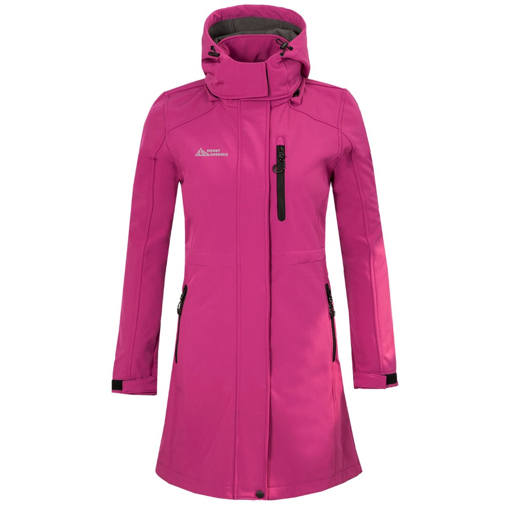 Autumn Winter New Women Outdoor Sports Long Soft Shell Stormcoat Leisure Windbreaker Mountaineering Camping Cycling Fishing Clo