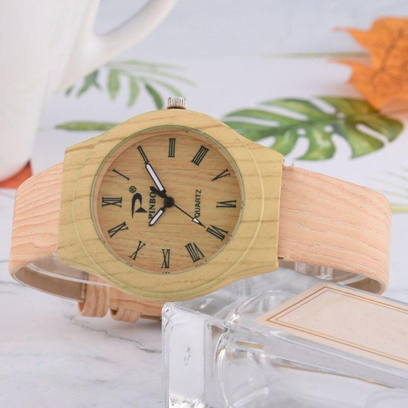 Men Women Quartz Watch PU Leather Wood Pattern Wristwatch Student Sport Casual Watches TH36