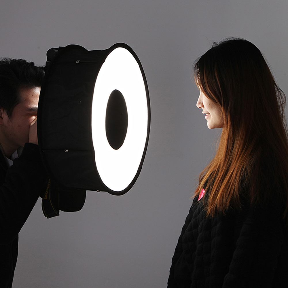 Lightdow 45cm Foldable Ring Speedlite Flash Diffuser Macro Shoot Round Softbox for Canon Nikon Sony Pentax Godox Speedlight 8