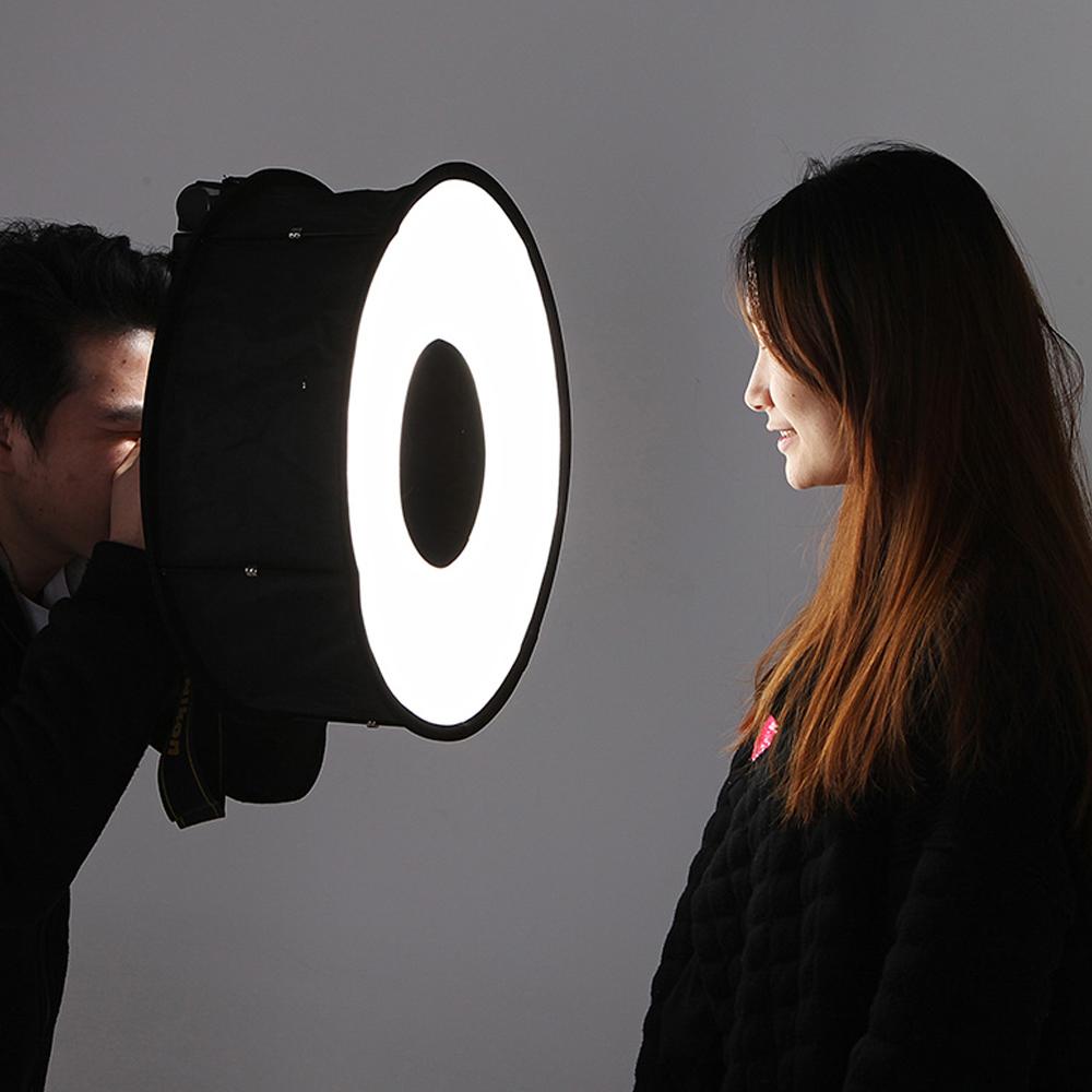 Lightdow 45cm Foldable Ring Speedlite Flash Diffuser Macro Shoot Round Softbox for Canon Nikon Sony Pentax Godox Speedlight 8