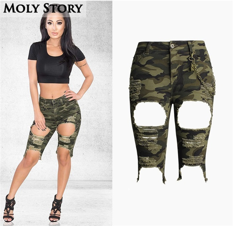 buy fashion punk metal chain knee length camouflage denim shorts women short. Black Bedroom Furniture Sets. Home Design Ideas