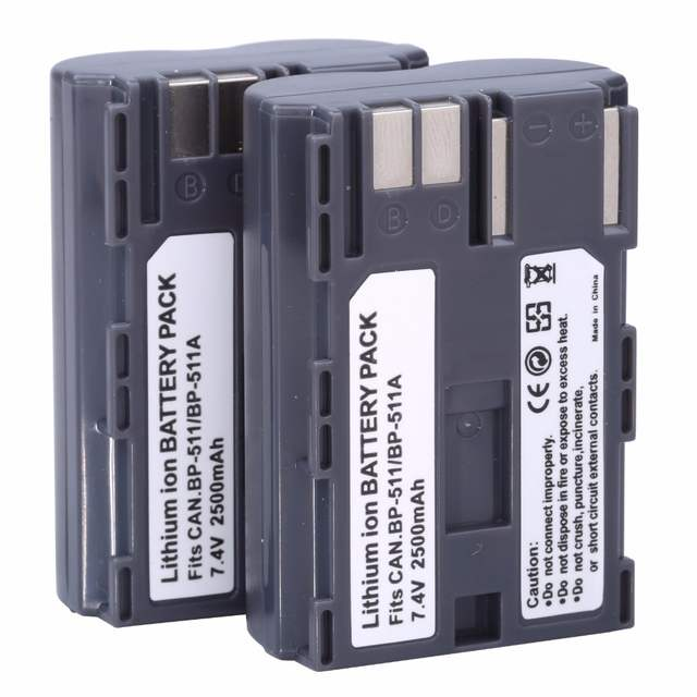 US $18 51 5% OFF|Probty 2Pcs BP 511 BP 511 BP511A Battery for Canon EOS 40D  300D 5D 20D 30D 50D 2500mAh for Canon Camera Accessories Wholesale-in