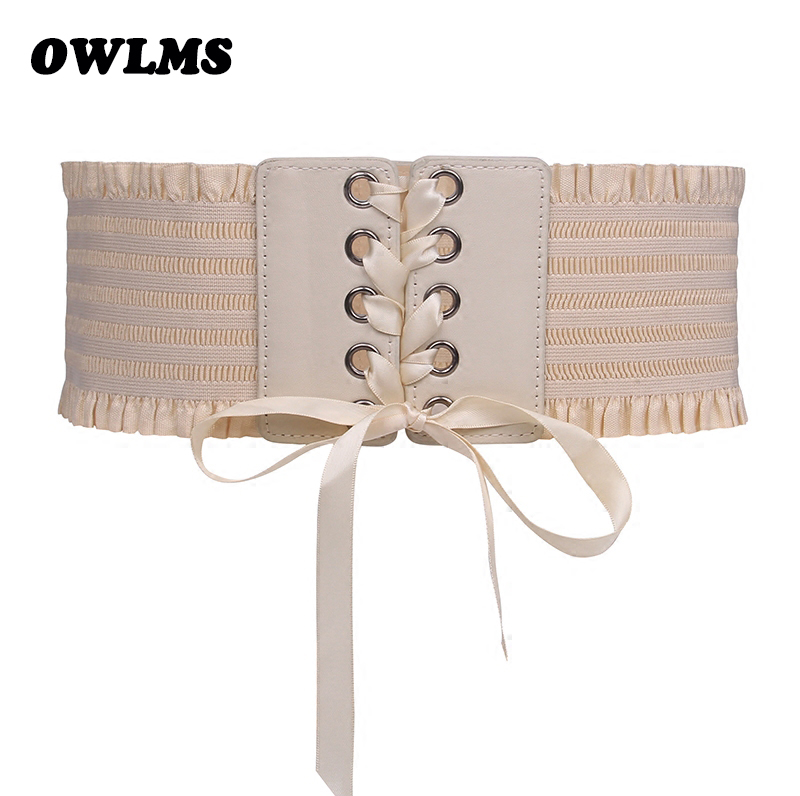 Newest Design Waist Belts Closure Female Dress Decoration Elastic Cummerbunds Beige Fashion Tassel Bow Stretch Tight Black Women