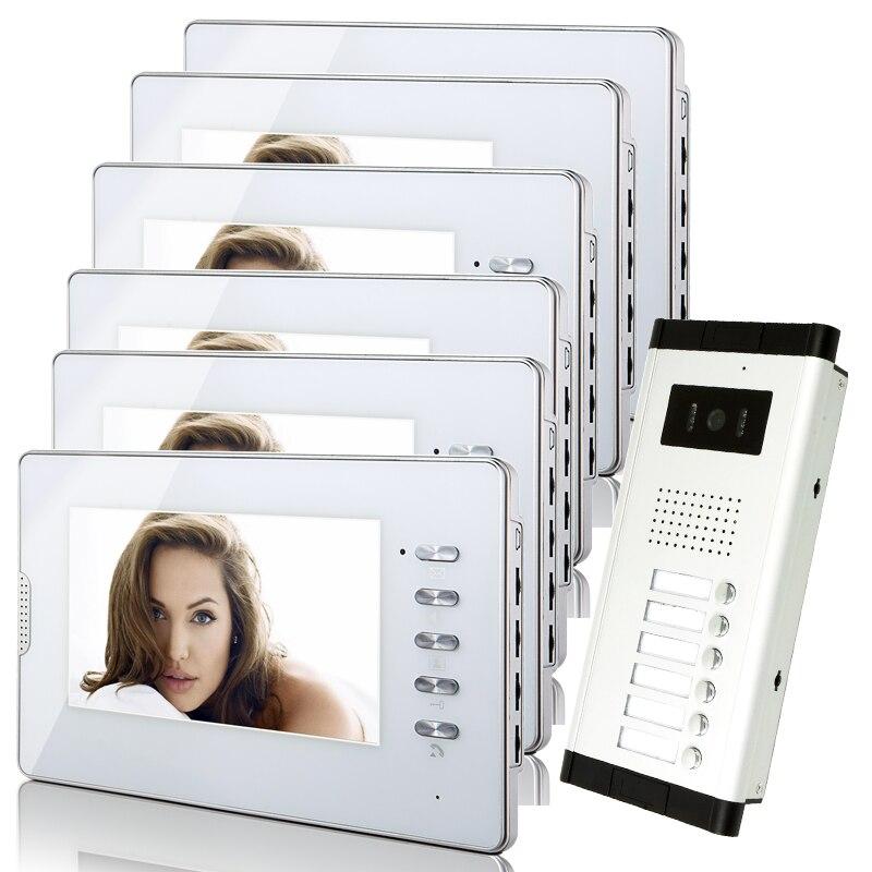 Free shipping 7 lcd color video door phone intercom system for Door to door transport
