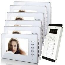 """ENVÍO LIBRE 7 """"Monitores LCD Color Video de La Puerta Sistema de Intercomunicación Teléfono 6 Blanco + Timbre de La Cámara para 6 apartamentos Familiares En Stock"""