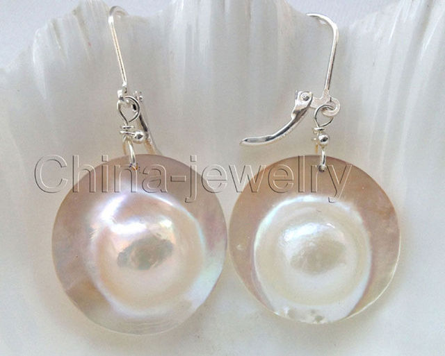 Aaa 22mm Natural White Sea Water Mabe Blister Pearl Earring 925 Silver
