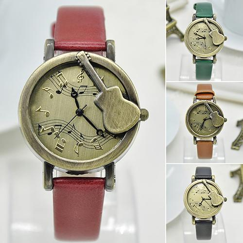 Watch Women Guitar Round Vintage Quartz New Number-Pointer Note-Dial Casual