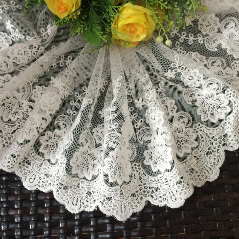 19yards 22cm White Mesh embroidered lace trim cotton lace for needlework Ribbons and lace for sewing
