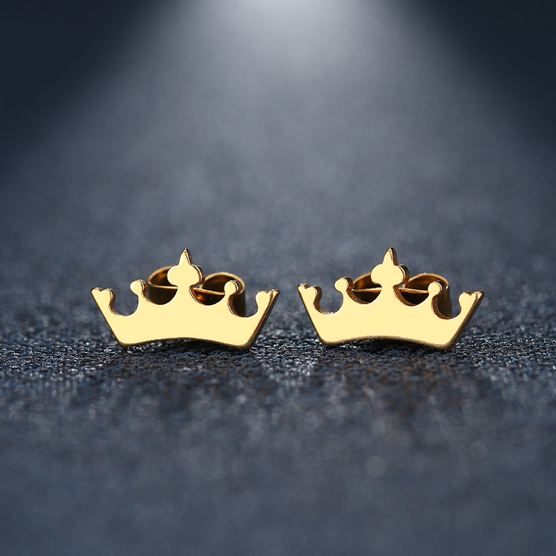 CACANA Stainless Steel Stud Earring For Women Man Cartoon Crown Gold And Silver Color Lover's Engagement Jewelry Drop Shipping