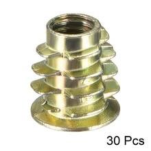 Uxcell 30pcs M6 Length 13mm 14mm 18mm Bronze Tone Zinc Alloy Thread Hex Drive Flat Head For Wood Insert Nut Furniture Nuts